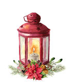 Watercolor traditional red lantern with candle and floral decor. Hand painted Christmas lantern with fir branch Stock Photography