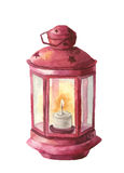 Watercolor traditional red lantern with candle. Hand painted Christmas lantern on white background for design, print Stock Photos