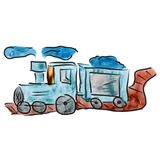 Watercolor train blue cartoon drawing, isolated on Stock Image