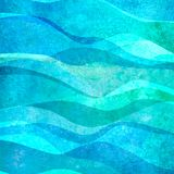 Watercolor transparent sea ocean wave teal turquoise colored background. Watercolour hand painted waves illustration. Watercolor transparent sea ocean wave blue royalty free illustration