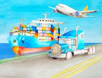 Watercolor transport concept of a blue container truck and a blue American semi-trailer tractor without a body against the royalty free illustration