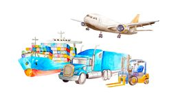 Watercolor transport and logistics concepts with container ship, cargo plane, classic American truck trailer and. Forklift in a row. for logistic import export vector illustration