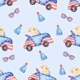 Watercolor Transport seamless pattern,  Hand drawn car, dog, flags paper. Cute domestic animal, kids party,  chihuahua dog clipart