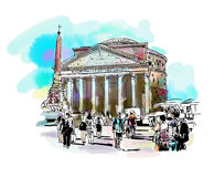 Watercolor travel card from Rome Italy, old italian imperial bui Royalty Free Stock Photography