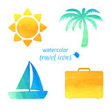 Watercolor travel icons Royalty Free Stock Image