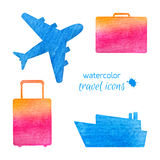 Watercolor travel icons Stock Photos