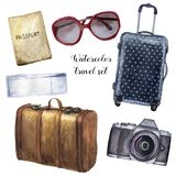 Watercolor travel set. Hand painted tourist objects set including passport, ticket, leather vintage suitcase, polka dot. Baggage, camera and sunglasses isolated stock illustration