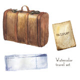 Watercolor travel set including passport, ticket, vintage leather set. Hand painted illustration  on white background. For Stock Image