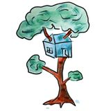 Watercolor tree house blue cartoon figure Royalty Free Stock Photography