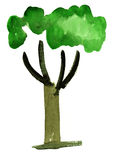 Watercolor tree impression painting. In white background Stock Illustration