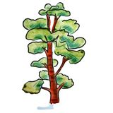 Watercolor tree light green cartoon figure Stock Photography