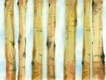 Watercolor tree trunks. Royalty Free Stock Images