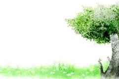 Watercolor Trees Stock Photo