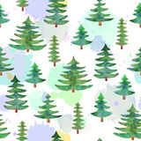 Watercolor trees seamless pattern on background with imitation o. Watercolor green trees seamless pattern on background with imitation of watercolor. Isolated Stock Photos