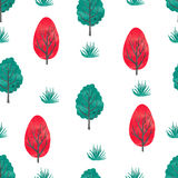 Watercolor trees seamless pattern. Cartoon abstract forest. Vector background with trees  on white Stock Images