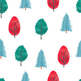 Watercolor trees seamless pattern. Stock Photography