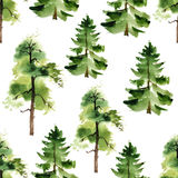Watercolor trees seamless pattern Stock Photos