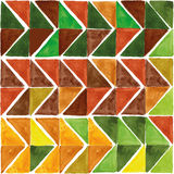 Watercolor triangle seamless pattern. Brown,Yellow,green Royalty Free Stock Images