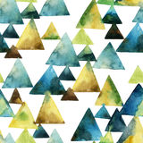 Watercolor triangle seamless pattern. Geometric background. Hand painted illustration in natural colors Royalty Free Stock Photography