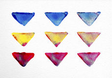 Watercolor triangle set hand drawn illustration Royalty Free Stock Photos