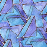 Watercolor Triangle Square geometry blue purple seamless texture for your business wallpaper art Royalty Free Stock Images