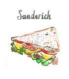 Watercolor triangular sandwich Stock Photos