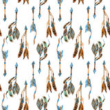 Watercolor tribal arrows seamless pattern. Royalty Free Stock Images
