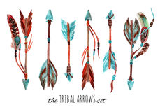 Watercolor tribal arrows. Royalty Free Stock Photography
