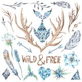Watercolor Tribal Design Elements Set Royalty Free Stock Photography