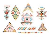 Watercolor tribal elements set for ethnic design Stock Photos