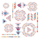 Watercolor tribal elements set for ethnic design Stock Image