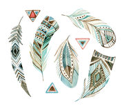 Watercolor tribal feather set stock illustration