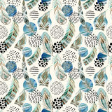 Watercolor tribal feathers seamless pattern with abstract marble and grunge shapes Stock Images