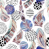 Watercolor tribal feathers seamless pattern with abstract marble and grunge shapes Stock Photos