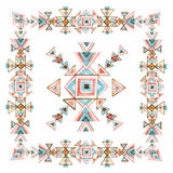 Watercolor tribal frame with ornate geometrical elements isolated on white background. Royalty Free Stock Photo