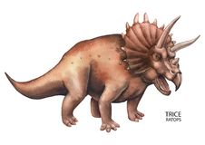 Realistic watercolor dinosaur. Watercolor triceratops. Hand painted dinosaur isolated on white background. Predator animal of the prehistoric period Stock Image