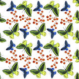 Watercolor  tropical butterflies pattern Royalty Free Stock Photo