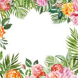 Watercolor tropical floral frame with green exotic foliage and colorful flowers for cards design, wedding invitations. Watercolor floral tropical arrangement vector illustration