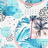 Watercolor tropical floral geometric shapes seamless pattern. Royalty Free Stock Photo