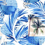 Watercolor tropical floral geometric shapes seamless pattern. Royalty Free Stock Images