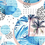 Watercolor tropical floral geometric shapes seamless pattern. Stock Photos