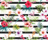 Watercolor tropical floral pattern. Beautiful pattern with hand drawn watercolor tropical flowers and leaves Royalty Free Stock Images