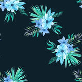 Watercolor tropical floral seamless pattern. Seamless pattern with watercolor tropical flowers, leaves and plants in blue and turquoise colors. Hand painted Royalty Free Stock Photography