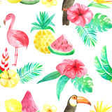 Watercolor tropical floral seamless pattern. Seamless pattern with watercolor tropical flowers, leaves, plants,fruits and birds. Hand painted jungle paradise Stock Photo
