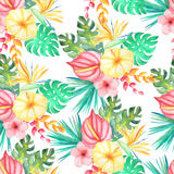 Watercolor tropical floral seamless pattern. Seamless pattern with watercolor tropical flowers, leaves and plants. Hand painted jungle paradise background Stock Photo