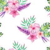 Watercolor tropical floral seamless pattern Royalty Free Stock Image