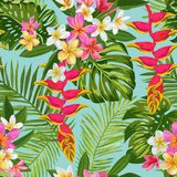 Watercolor Tropical Flowers and Palm Leaves Seamless Pattern. Floral Hand Drawn Background. Blooming Plumeria Flowers stock illustration