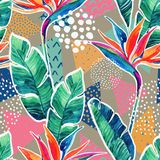 Watercolor Tropical Flowers With Contour On Geometric Background. Stock Photo