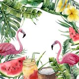Watercolor tropical frame with palm branch and pink flamingo. Hand painted floral illustration with cocktail, watermelon. Coconut and plumeria isolated on vector illustration