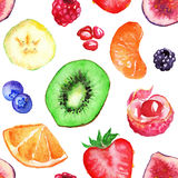 Watercolor tropical fruit berry seamless pattern background Stock Photos